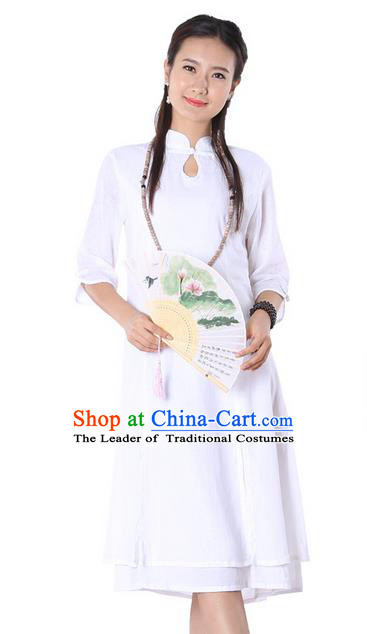 Top Chinese Traditional Costume Tang Suit Linen White Qipao Dress, Pulian Clothing China Cheongsam Upper Outer Garment Dress for Women