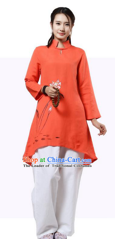 Top Chinese Traditional Costume Tang Suit Linen Painting Lotus Qipao Dress, Pulian Clothing China Republic of China Cheongsam Upper Outer Garment Orange Dress for Women