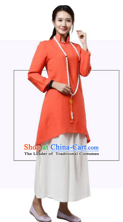 Top Chinese Traditional Costume Tang Suit Linen Qipao Dress, Pulian Clothing China Republic of China Cheongsam Upper Outer Garment Orange Dress for Women