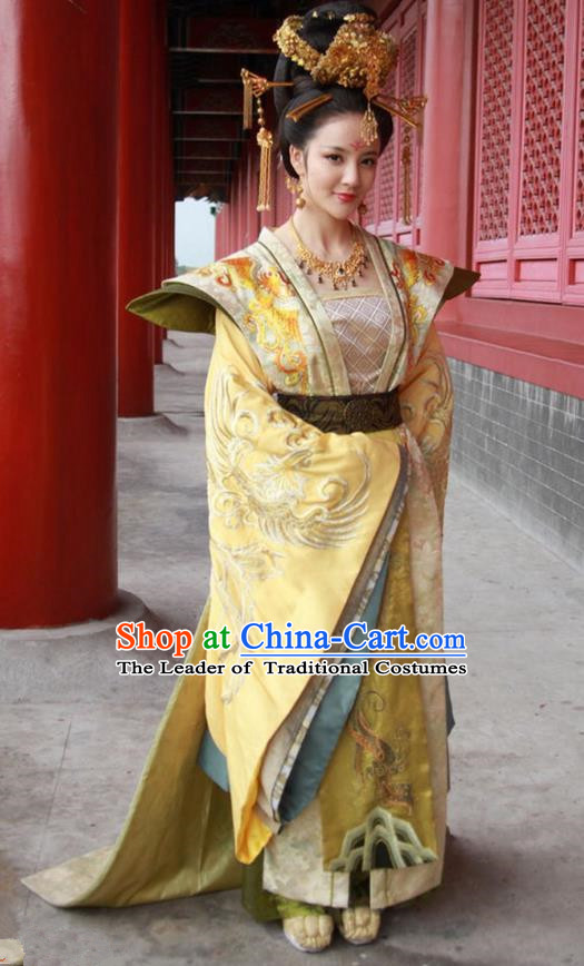Traditional Chinese Ancient Senior Concubine Costume and Headpiece Complete Set, Chinese Tang Dynasty Palace Imperial Empress Embroidered Hanfu Tailing Clothing for Women