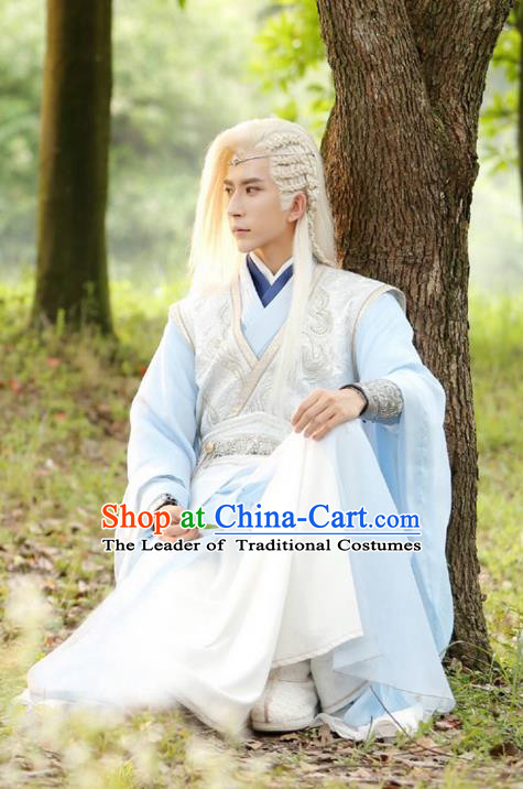 Traditional Chinese Ancient Swordsman Costume, Xuan-Yuan Sword Legend  The Clouds of Han the Three Kingdoms Prince Hanfu Clothing and Headpiece Complete Set for Men