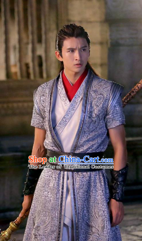 Traditional Chinese Ancient Chivalrous Expert Costume, Xuan-Yuan Sword Legend  The Clouds of Han the Three Kingdoms Swordsman Hanfu Clothing for Men