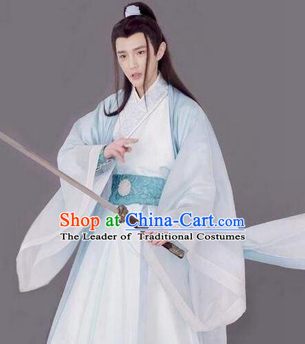Traditional Chinese Ancient Nobility Childe Costume and Headwear Complete Set, Xuan-Yuan Sword Legend: The Clouds of Han the Three Kingdoms Swordsman Hanfu Clothing for Men