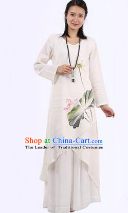 Top Chinese Traditional Costume Tang Suit White Linen Painting Lotus Qipao Dress, Pulian Meditation Clothing China Cheongsam Upper Outer Garment Dress for Women