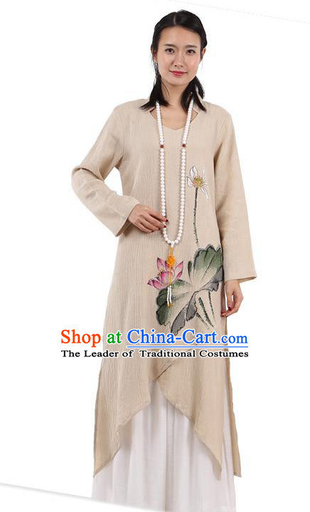 Top Chinese Traditional Costume Tang Suit Beige Linen Painting Lotus Qipao Dress, Pulian Meditation Clothing China Cheongsam Upper Outer Garment Dress for Women