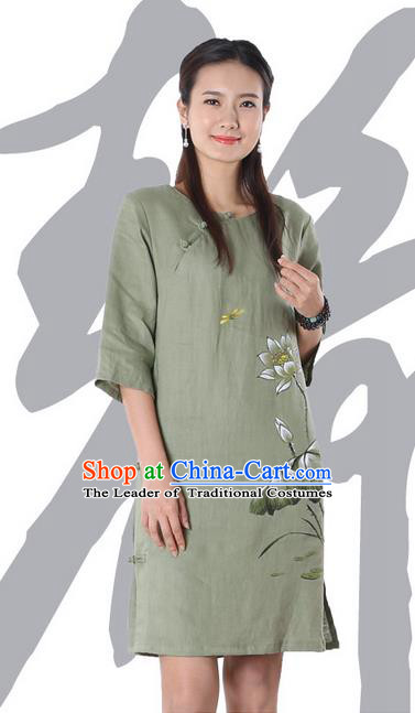 Top Chinese Traditional Costume Tang Suit Green Linen Qipao Painting Lotus Yoga Dress, Pulian Clothing Republic of China Cheongsam Upper Outer Garment Dress for Women