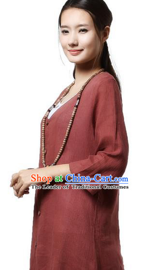 Top Chinese Traditional Costume Tang Suit Purplish Red Linen Qipao Coats, Pulian Clothing Republic of China Upper Outer Garment Dust Coats for Women