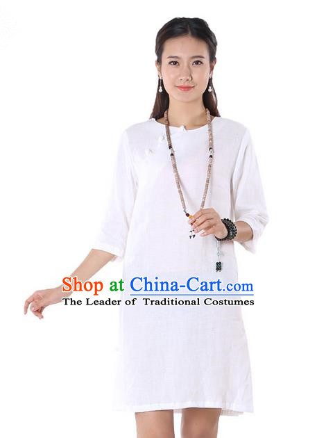 Top Chinese Traditional Costume Tang Suit White Linen Qipao Yoga Dress, Pulian Clothing Republic of China Cheongsam Upper Outer Garment Dress for Women