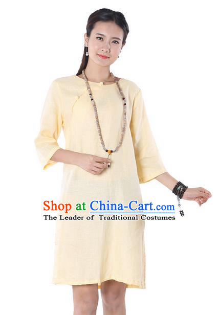 Top Chinese Traditional Costume Tang Suit Yellow Linen Qipao Yoga Dress, Pulian Clothing Republic of China Cheongsam Upper Outer Garment Dress for Women