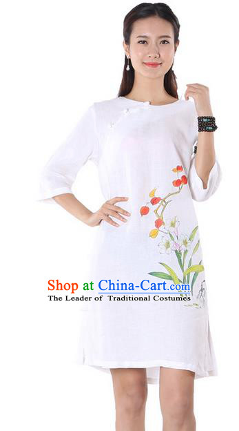Top Chinese Traditional Costume Tang Suit White Linen Qipao Painting Daffodil Yoga Dress, Pulian Clothing Republic of China Cheongsam Upper Outer Garment Dress for Women