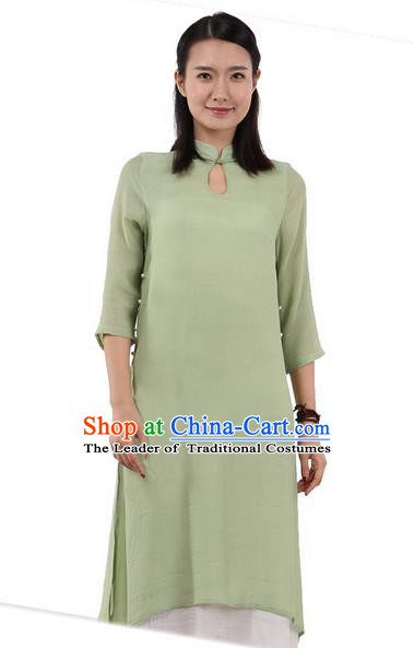Top Chinese Traditional Costume Tang Suit Linen Double-deck Qipao Dress, Pulian Zen Clothing Republic of China Cheongsam Upper Outer Garment Green Dress for Women