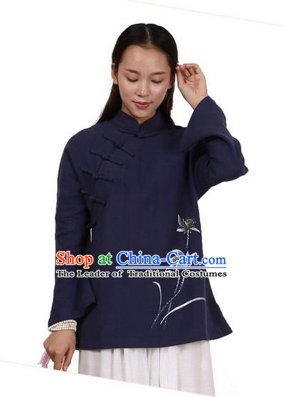 Top Chinese Traditional Costume Tang Suit Linen Upper Outer Garment Navy Blouse, Pulian Zen Clothing Republic of China Cheongsam Painting Flower Shirts for Women