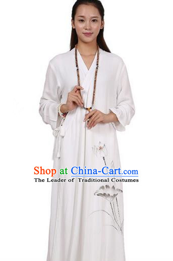 Top Chinese Traditional Costume Tang Suit Linen Upper Outer Garment Qipao Dress, Pulian Zen Clothing Republic of China Cheongsam Painting Lotus White Dress for Women