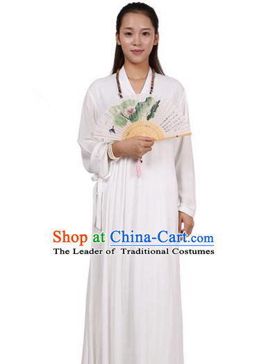 Top Chinese Traditional Costume Tang Suit Linen Upper Outer Garment Qipao Dress, Pulian Zen Clothing Republic of China Cheongsam White Dress for Women