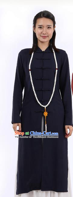 Top Chinese Traditional Costume Tang Suit Plated Buttons Linen Outer Garment Coats, Pulian Zen Clothing Republic of China Cheongsam Navy Dust Coat for Women