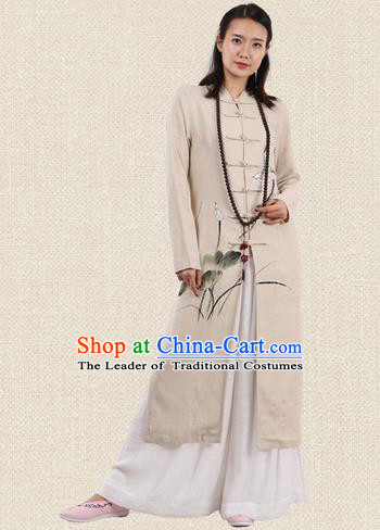 Top Chinese Traditional Costume Tang Suit Plated Buttons Linen Outer Garment Coats, Pulian Zen Clothing Republic of China Cheongsam Beige Painting Lotus Dust Coat for Women