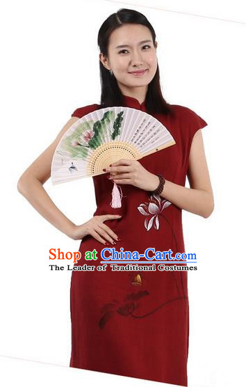 Top Chinese Traditional Costume Tang Suit Stand Collar Outer Garment Qipao Dress, Pulian Zen Clothing Republic of China Short Cheongsam Painting Lotus Red Dress for Women