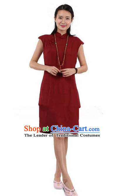 Top Chinese Traditional Costume Tang Suit Stand Collar Outer Garment Qipao Dress, Pulian Zen Clothing Republic of China Short Cheongsam Red Dress for Women