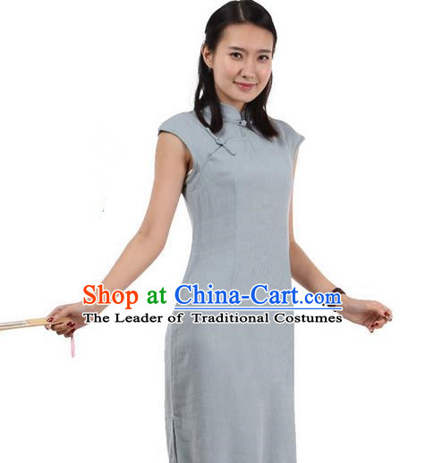 Top Chinese Traditional Costume Tang Suit Stand Collar Outer Garment Qipao Dress, Pulian Zen Clothing Republic of China Short Cheongsam Blue Dress for Women