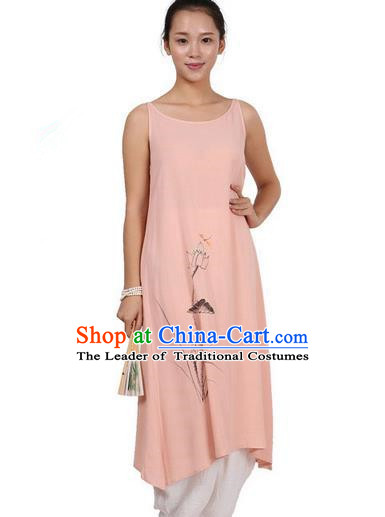 Top Chinese Traditional Costume Tang Suit Linen Painting Lotus Sundress, Pulian Zen Clothing Republic of China Pinafore Dress Pink Dress for Women