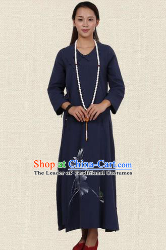 Top Chinese Traditional Costume Tang Suit Linen Qipao Dress, Pulian Zen Clothing Republic of China Cheongsam Painting Navy Long Dress for Women