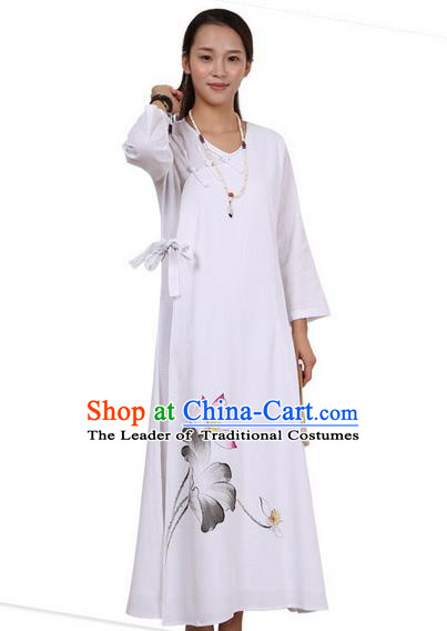 Top Chinese Traditional Costume Tang Suit Linen Qipao Dress, Pulian Zen Clothing Republic of China Cheongsam Painting White Long Dress for Women