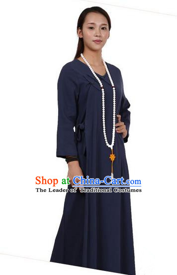 Top Chinese Traditional Costume Tang Suit Linen Qipao Dress, Pulian Zen Clothing Republic of China Cheongsam Navy Long Dress for Women