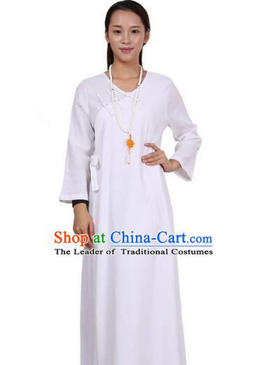 Top Chinese Traditional Costume Tang Suit Linen Qipao Dress, Pulian Zen Clothing Republic of China Cheongsam White Long Dress for Women