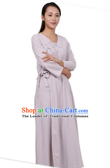 Top Chinese Traditional Costume Tang Suit Linen Qipao Dress, Pulian Zen Clothing Republic of China Cheongsam Grey Long Dress for Women