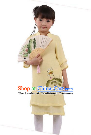 Top Chinese Traditional Costume Tang Suit Linen Qipao Children Dress, Pulian Zen Clothing Republic of China Cheongsam Yellow Painting Lotus Dress for Kids