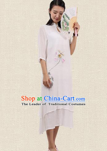 Top Chinese Traditional Costume Tang Suit Linen Double-deck Qipao Dress, Pulian Zen Clothing Republic of China Cheongsam Upper Outer Garment Painting Lotus White Dress for Women