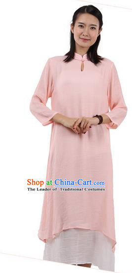 Top Chinese Traditional Costume Tang Suit Linen Double-deck Qipao Dress, Pulian Zen Clothing Republic of China Cheongsam Upper Outer Garment Pink Dress for Women