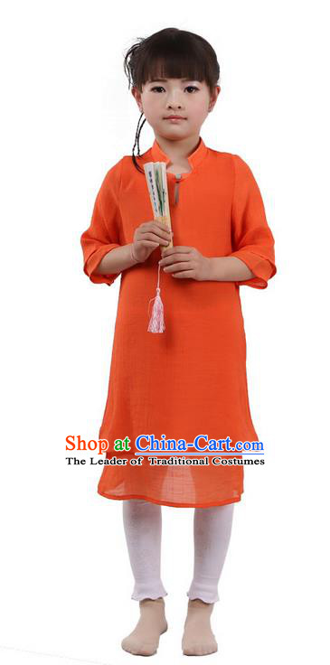 Top Chinese Traditional Costume Tang Suit Linen Qipao Children Dress, Pulian Zen Clothing Republic of China Cheongsam Orange Dress for Kids