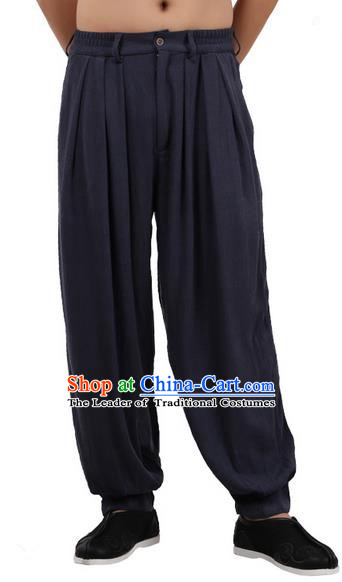Top Chinese Traditional Linen Kong Fu Loose Pants, Pulian Zen Clothing China Martial Art Plus Fours Bloomers Navy Trousers for Men
