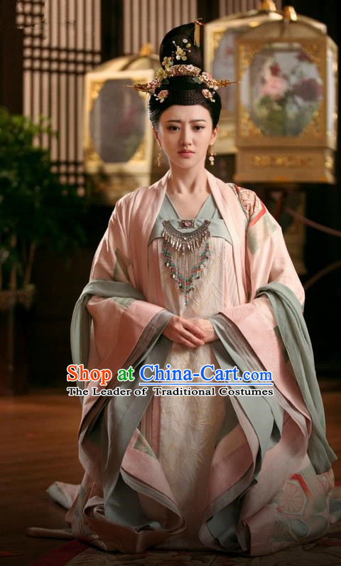 Traditional Chinese Ancient Imperial Princess Costume and Headpiece Complete Set, Chinese The Glory of Tang Dynasty Palace Lady Senior Concubine Hanfu Clothing for Women