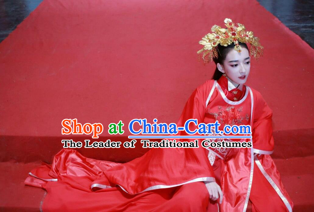 Traditional Chinese Ancient Princess Wedding Costume and Headpiece Complete Set, Chinese Teleplay Flower Shabana Flyings Sky Song Dynasty Palace Lady Red Dress Clothing for Women