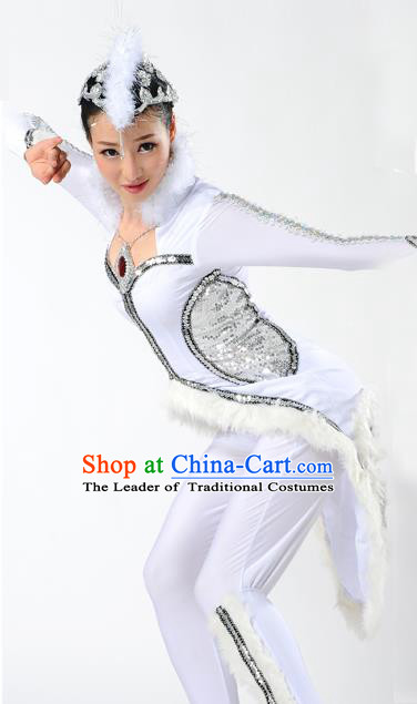 Traditional Chinese Mongol Nationality White Fox Dance Costume, Mongols Female Folk Dance Clothing, Chinese Mongolian Minority Nationality Clothing for Women