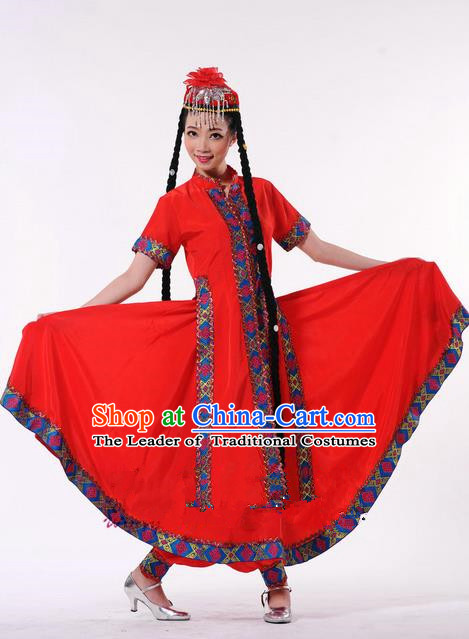 Traditional Chinese Uyghur Nationality Dancing Costume, Folk Dance Ethnic Red Clothing, Chinese Minority Nationality Uigurian Dance Dress for Women