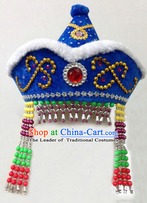 Traditional Chinese Mongol Nationality Dance Headwear, Chinese Mongolian Minority Nationality Folk Dancing Blue Hat for Kids