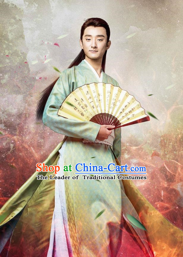 Traditional Chinese Song Dynasty Swordsman Costume and Handmade Headpiece Complete Set, China Ancient Jianghu Youxia Nobility Childe Clothing for Men