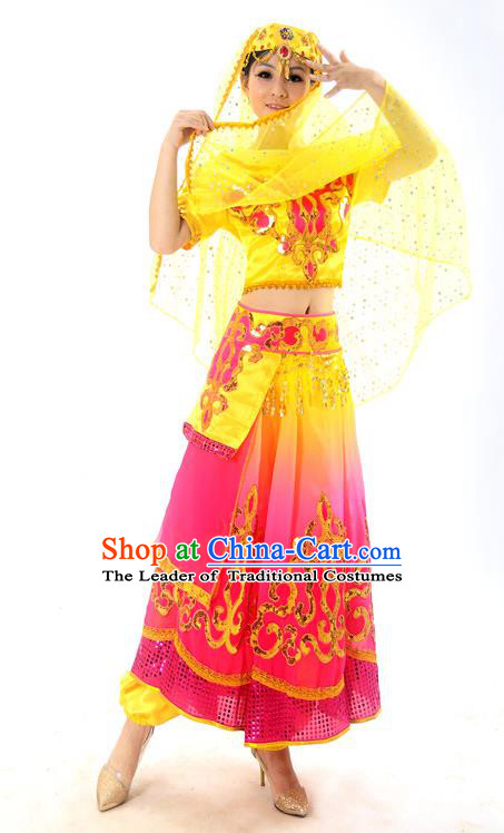 Traditional Indian Belly Dance Costumes, Bollywood Belly Dance Yellow Dress for Women