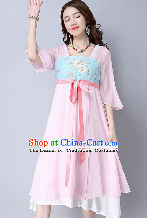 Traditional Ancient Chinese National Costume, Elegant Hanfu Mandarin Qipao Embroidery Pink Dress, China Tang Suit Mandarin Sleeve Chirpaur Republic of China Cheongsam Upper Outer Garment Elegant Dress Clothing for Women