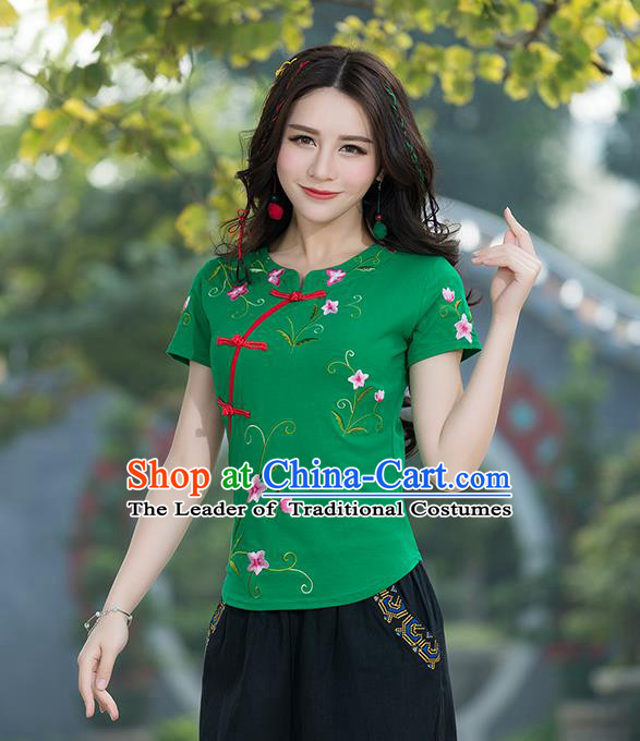 Traditional Chinese National Costume, Elegant Hanfu Embroidery Flowers Slant Opening Green T-Shirt, China Tang Suit Republic of China Plated Buttons Chirpaur Blouse Cheong-sam Upper Outer Garment Qipao Shirts Clothing for Women