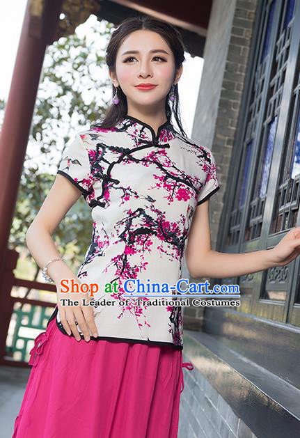 Traditional Chinese National Costume, Elegant Hanfu Ink Painting Slant Opening Pink T-Shirt, China Tang Suit Republic of China Plated Buttons Chirpaur Stand Collar Blouse Cheong-sam Upper Outer Garment Qipao Shirts Clothing for Women