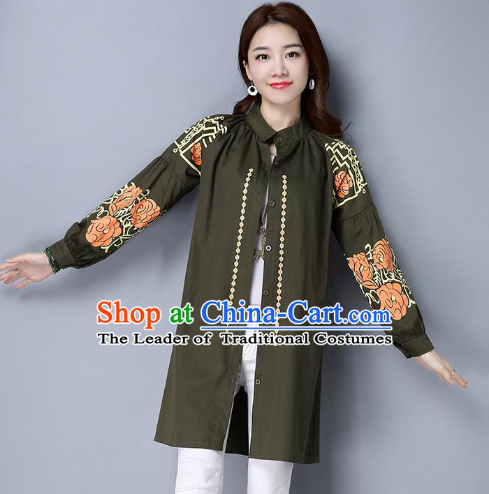 Traditional Chinese National Costume, Elegant Hanfu Dipdye Green Shirt, China Tang Suit Republic of China Chirpaur Blouse Cheong-sam Upper Outer Garment Qipao Shirts Clothing for Women