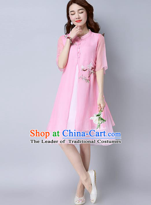 Traditional Ancient Chinese National Costume, Elegant Hanfu Mandarin Qipao Chiffon Embroidered Pink Dress, China Tang Suit Chirpaur Republic of China Cheongsam Upper Outer Garment Elegant Dress Clothing for Women