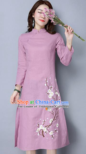 Traditional Ancient Chinese National Costume, Elegant Hanfu Mandarin Qipao Embroidery Peach Blossom Long Sleeve Pink Dress, China Tang Suit Chirpaur Republic of China Cheongsam Upper Outer Garment Elegant Dress Clothing for Women