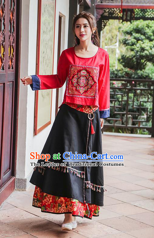 Traditional Chinese National Costume, Elegant Hanfu Embroidery Flowers Round Collar Red T-Shirt, China Tang Suit National Minority Blouse Cheong-sam Upper Outer Garment Qipao Shirts Clothing for Women