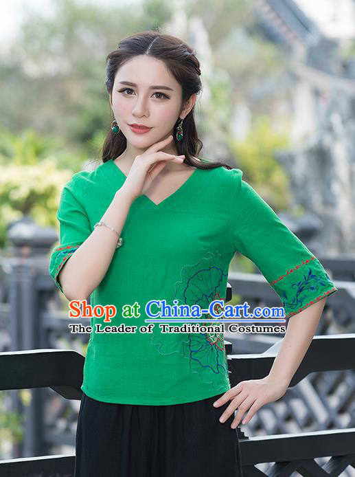 Traditional Chinese National Costume, Elegant Hanfu Embroidery Flowers Green T-Shirt, China Tang Suit Republic of China Chirpaur Blouse Cheong-sam Upper Outer Garment Qipao Shirts Clothing for Women