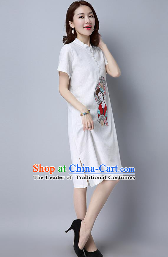 Traditional Ancient Chinese National Costume, Elegant Hanfu Mandarin Qipao Linen Embroidered White Dress, China Tang Suit Chirpaur Republic of China Cheongsam Upper Outer Garment Elegant Dress Clothing for Women